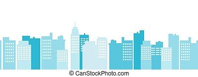 vecteur, fond, skyscrapers., moderne, cityscape, scène, seamless, modèle, border., plat, urbain