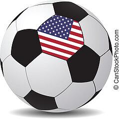 vecteur, football, drapeau, balle, usa.