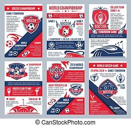 vecteur, football, football, championnat, affiches
