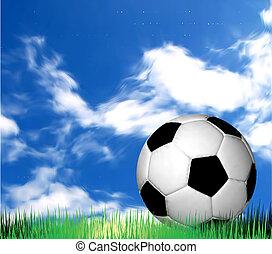 vecteur, football, grass., balle, football