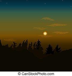 vecteur, forêt, paysage., sur, coucher soleil