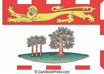 vecteur, format, île, province, drapeau, edward, canada., ...