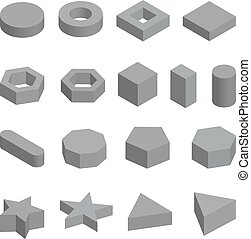 vecteur, formes, platonic, ensemble, solides géométriques, monochrome, illustration