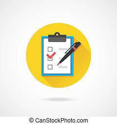 vecteur, formulaire, à, stylo, checkboxes