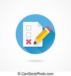 vecteur, formulaire, crayon, et, x, marque, icône