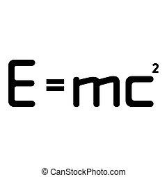 vecteur, formule, image, signe, education, droit & loi, couleur, énergie, égal, 2, carré, style, illustration, e, noir, théorie, physique, concept, icône, plat, mc, relativité