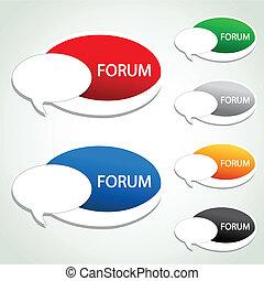 vecteur, forum, article menu, -, ovale, autocollant
