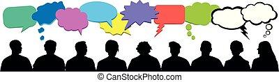 vecteur, foule, bulle, coloré, gens, communication, signe., pensées, isolé, silhouette., audience, ensemble, parole, penser, nuage