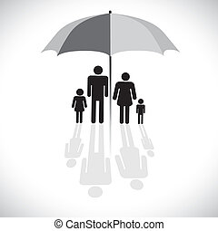 vecteur, four(father, concept, parapluie, reflet, famille, &, graphic-, parasol, fils, graphique, mère, daughter), icon., protection(insurance), symbole., spectacles