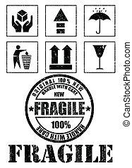 vecteur, fragile, sécurité, signes, stamp.