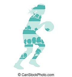 vecteur, fragments, isolé, basket-ball, fond, arbres, fait, forêt, concept, femme