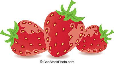 vecteur, fraises