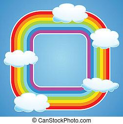 vecteur, frontière, de, arc-en-ciel, et, nuages