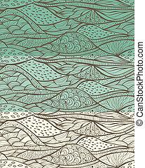 vecteur, froussard, 3, motifs, seamless