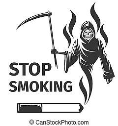 vecteur, fumer, mort, stop