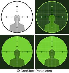 vecteur, fusil, vue, réticule