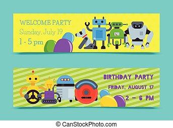 vecteur, futuriste, welcome., ensemble, illustration., technology., intelligence, robot, artificiel, chien, onduler, anniversaire, conception, celebration., robotique, fête, bannières, ami, gosse