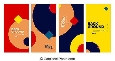 vecteur, géométrique, coloré, été, résumé, modèle fond, courbe, plat