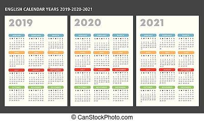 vecteur, gabarit, 2019-2020-2021, anglaise, calendrier