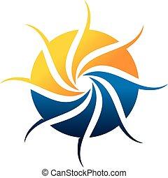 vecteur, gabarit, conception, logo, synergie