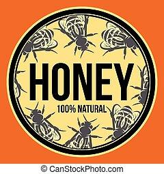 vecteur, gabarit, couleur dessin, miel, conditionnement