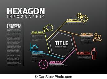 vecteur, gabarit, infographic, mince, hexagone, ligne