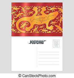 vecteur, gabarit, lézard, gecko, gaudi, carte postale, ...