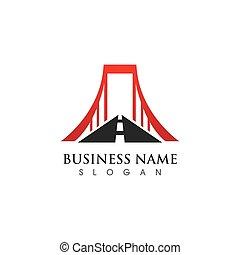 vecteur, gabarit, logo, icône, pont