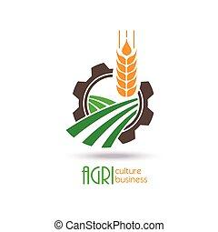 vecteur, gabarit, ou, logo, signe, design., icône, symbole., nature, ecology., agriculture, ferme