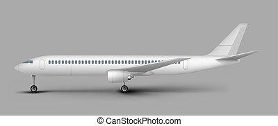vecteur, gabarit, passager, vue, côté, avion