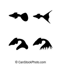 vecteur, gabarit, silhouette, fish, conception, ensemble, guppy, illustration