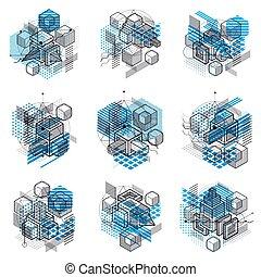 vecteur, gabarits, rectangles, lignes, elements., résumé, carrés, arrière-plans, cubes, hexagones, fait, différent, isométrique, set., illustrations.