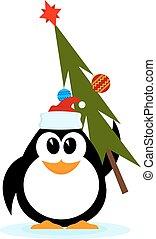 vecteur, gai, chapeau, peu, dessin animé, arbre noël, santa, manchots, claus., style.