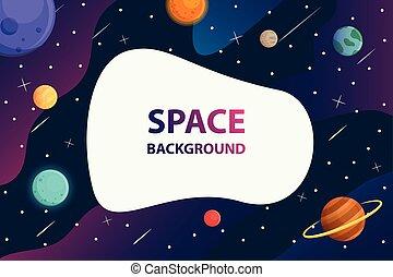 vecteur, galaxie, fond, armature espace, blanc, texte, planète