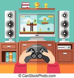 vecteur, gamepad, jeu vidéo, playstation, adolescent, illustration, jeu