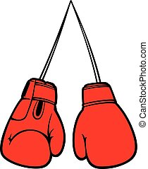 vecteur, gants, boxe, illustration, rouges