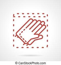vecteur, gants, ligne, stérile, rouges, icône