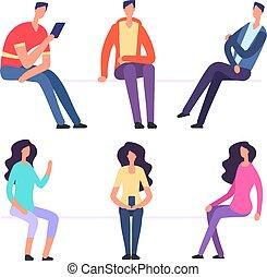 vecteur, garçon, chairs., sitting., gens, asseoir, ensemble, caractères, girl, dessin animé