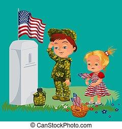 vecteur, garçon, commémoratif, childs, famille, honorer, cimetière, drapeau, peu, illustration, guerre, jour, vétéran, nous, mémoire, militaire, girl, baissé, enfants, tombe, héros