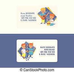 vecteur, garçon, ensemble, fond, business, danse, football, illustration, dessin animé, guitare, ou, gosses, musique, toile de fond, caractères, commercial-carte, girl, jouer, enfants, carte