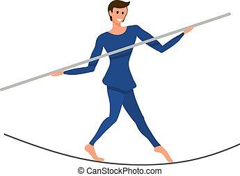 vecteur, garçon, sien, artiste, cirque, illustration, corde, poteau, hermétiquement, balancer, sous, dome., hands., tendre