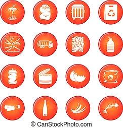 vecteur, gaspillage, ensemble, déchets, icônes