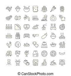 vecteur, gastronomie, signes, ensemble, icônes, ligne, symboles, illustration, linéaire