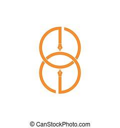vecteur, ge, écrivain, conception, lettre, stylo, logo