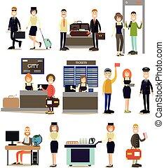 vecteur, gens, aéroport, ensemble, plat, icône