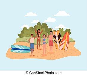 vecteur, gens, conception, swimsuits, planches surf, plage