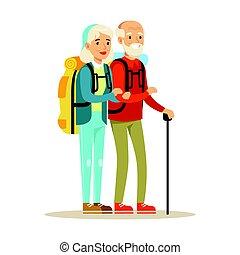 vecteur, gens, dessin animé, coloré, couple, backpacks., personne agee, touristes, voyager, illustration, caractère