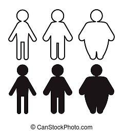 vecteur, gens, graisse, pictograms, mince, transformation