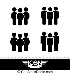 vecteur, gens, icône