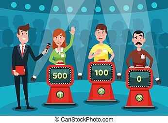 vecteur, gens, interroger, intellectuel, jeu, boutons, stands, studio, illustration, questions., deviner, exposition, jeune
